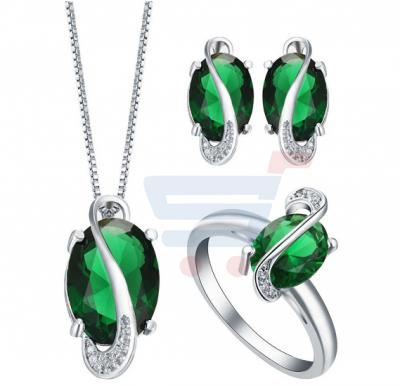 Emerald 925 Silver Necklace Pendant Jewelry Set Green