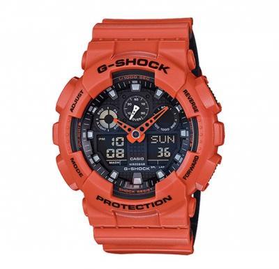 Casio G-Shock GA-100L-4ADR Analog Digital Watch For Men-Orange