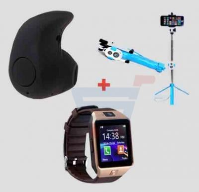 Bundle Offer Bluetooth Earpies -EA-852, Selfie Stick With Stand And Remote-EA-864, M9 Watch