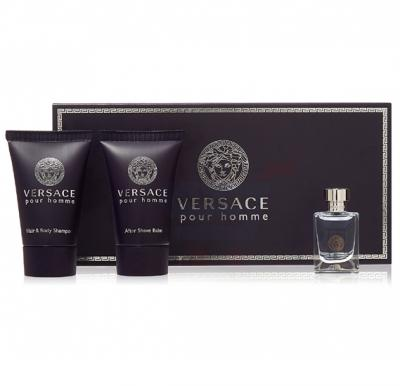Versace Pour Homme Gift Set Miniature 5ml, Hair and Body Shampoo 25ml and After Shave Balm 25ml