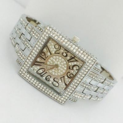 Catwalk Fashionable Cz Stone Covered Analog Stainless Steel Gold Dial Watch for Women, CW1014