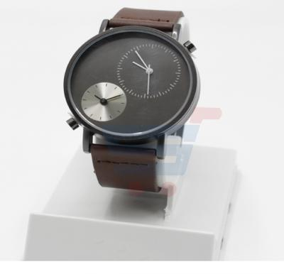 TOMI Unisex Genuine Leather Strap Watch Analog Japanese Quartz T079, Black Brown