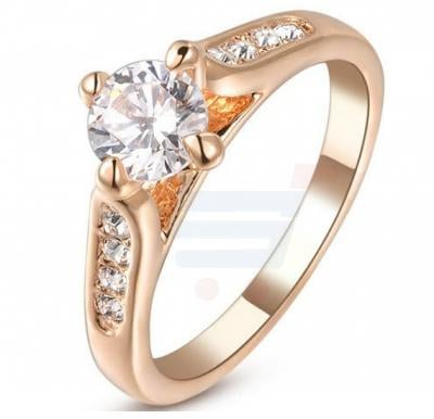 18K Rose Gold Plated Engagement Ring For Women, Italina Rigant