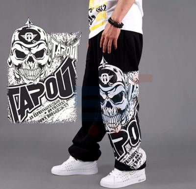 Mens SKELETON Printed Designer Trouser Black - 9968 - L