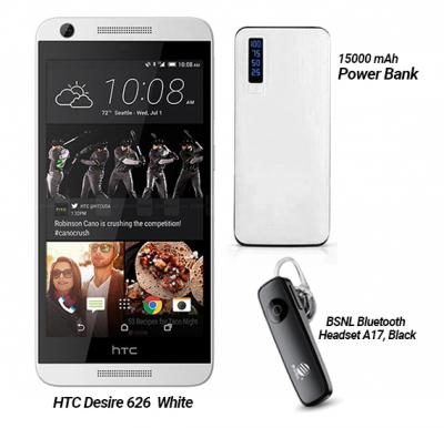 3 in 1 Bundle HTC Desire 626 Smartphone 4G 1GB Ram 16 GB Storage, White with Bluetooth Headset and Power Bank 15000mAh
