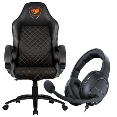 2 In 1 Cougar Fusion High Comfort Gaming Chair Assorted Colour And Cougar Over The Head Headset HX330 Assorted color