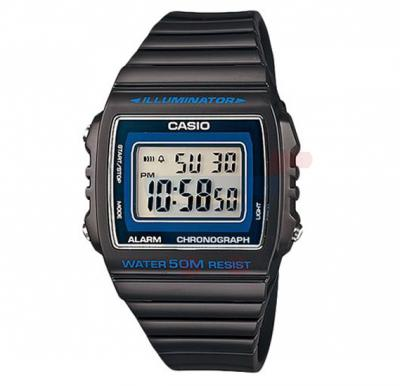 Casio Digital Dial Illuminator Watch For Men, Black Resin Band-W-215H-8A