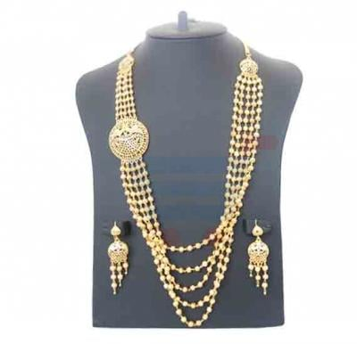 Farha Jewelry 22K 5 Line Gold Plated Necklace Set - FR 245