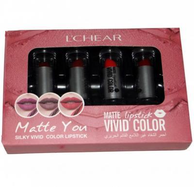 LCher Matte Lipstick Vivid Color 3.9gm x 4pcs, DQ1144A