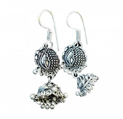 Nora Earrings White Metal Handmade -  A0062