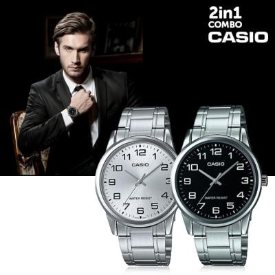 2 in 1 Casio Stainless Steel Casual Watch For Men
