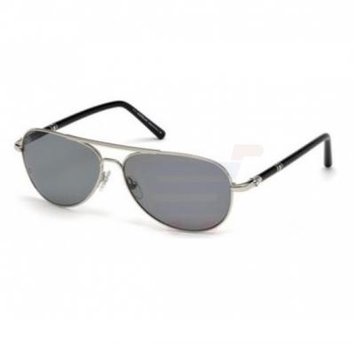 Mont Blanc Aviator Silver & Black Frame & Smokey Black Mirrored Sunglasses For Men - MB509S-16D