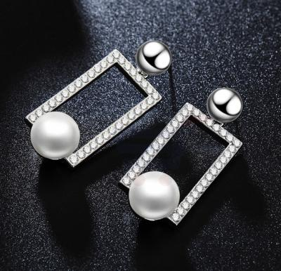 Tiara Elements White Gold Plated Earrings with Structred Crystals and Imitation Pearl - UE0170B