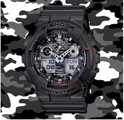 Casio G-Shock Watch For Men, Black Military Edition-GA-100CF-8A