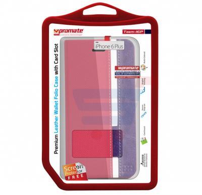 Promate Teem i6P iPhone Case, Premium Leather Wallet Folio Case for iPhone 6/6S Plus, Pink-Blue