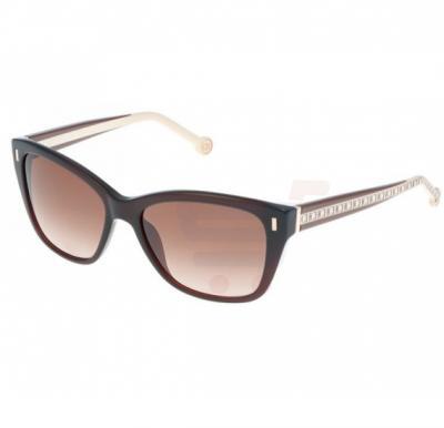 Carolina Herrera Aviator Black Havana Frame & Brown Gradient Mirrored Sunglasses For Women - SHE596-0958