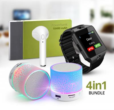 4 in 1 Combo Offer LED Speaker EA-828, Zooni Universal 10400mAh Power Bank, Bluetooth Smartwatch AMT001, Wireless Bluetooth headset