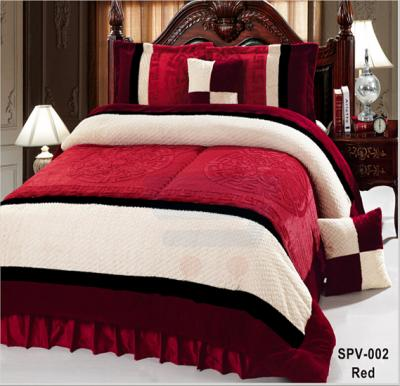 Senoures Velour Comforter 6Pcs Set King - SPV-002 Red