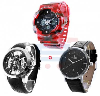 Combo Offer Clarkford Analog Black Leather Strap Watch CW71228, Clarkford Analog Watch CW49086, Clarkford Military Red Rubber Band Watch CW79068