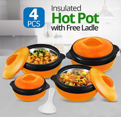 Olympia 4 Pcs Insulated Hot Pot & Free Ladle Orange, OE-2002