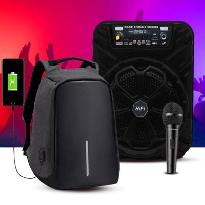 2 In 1 Portable Bluetooth Karaoke Backpack Speaker With Mic Assorted And Anti-Theft Backpack with USB Port