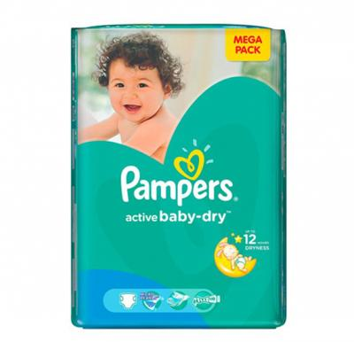 Pampers Active Baby  CP No.4 + Maxi (9-16kg) 90pcs