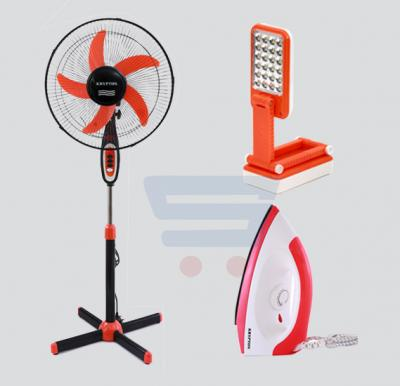 Combo Offer! Krypton 16 Inch Stand Fan With Night Light-KNF6012 + Krypton Dry Iron KNDI6001 + Krypton Rechargeable LED Desk Lamp-KNDL5018
