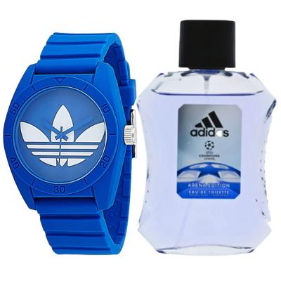2 In 1 Adidas Santiago ADH6169 Analog Watch For Unisex, Blue And Adidas UEFA Champions League Arena Edition EDT, 100 ml