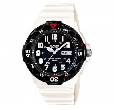 Casio Analog Watch For Men, White Resin Band With Calender-MRW-200HC-7B