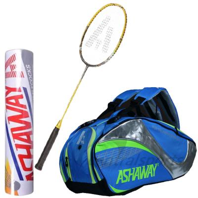 3 In 1 Ashaway Thermo Bag Triple Blue, Ashaway Badminton Racket Yellow, AM 9SQ And Ashaway Shuttle Silver Speed 77