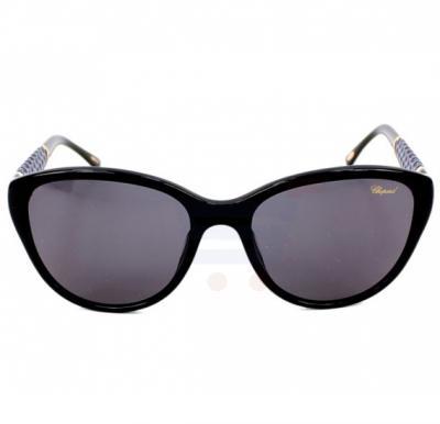 Chopard Round Black Frame & Black Mirrored Sunglass For Women - SCH127-0700