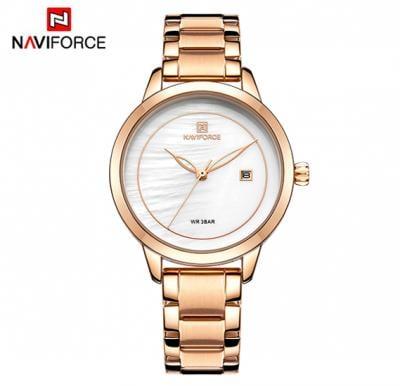 Naviforce NF5008 Brand Clock Steel Quartz Wristwatch Fashion Wrist Watch For Women- RoseGold
