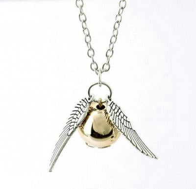 Harry Potter Golden Snitch ST Wings Pendant Necklace, Antique silver plate