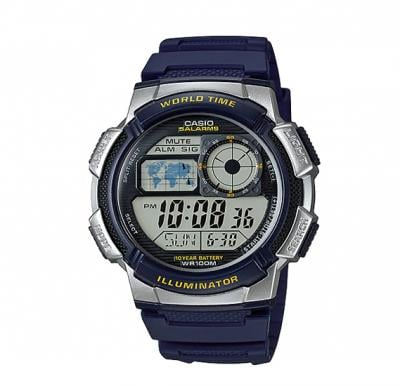 Casio Digital Watch For Men, Blue Sports Resin Band With World Time AE-1000W-2AVDF