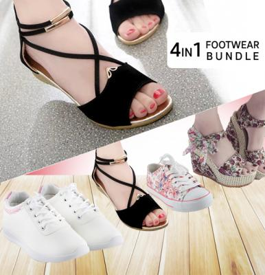 4 Pair Womens Footwear Bundle, Size 38