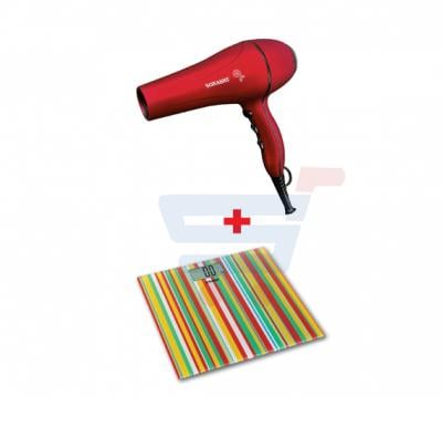 Bundle-Combo Offer Sonashi Digital Bathroom Scale Yellow-Multi-color SSC-2219 + Sonashi Hair Dryer 2000 W Matt Red SHD-3035