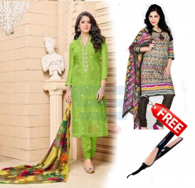 Combo Offer! Buy Dairy Milk Chanderi Cotton Naznin Printed Dress Material DM207 & Get Ruby 403 Cotton Salwar Kameez Dress Material + Krypton Hair Straightener KNH6018