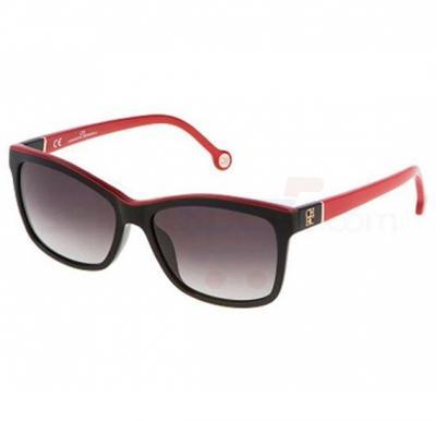 Carolina Herrera Wayfarer Black Red Frame & Grey Gradient Mirrored Sunglasses For Women - SHE598-09H7