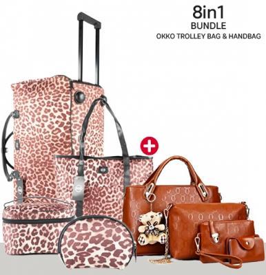 8 in1 Bundle of Okko Trolley Bag with Ladies Handbag, Brown