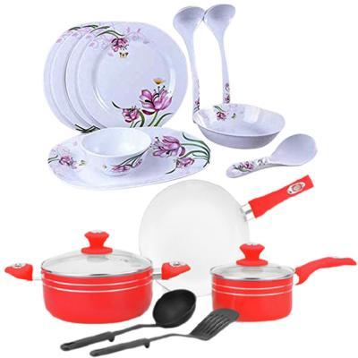 2 In 1 Royal Mark 10 Pcs Melamine Dinner Set, RMDS-9711 And Meenumix 7Pcs Ceramic Cookware Set, MCCS07