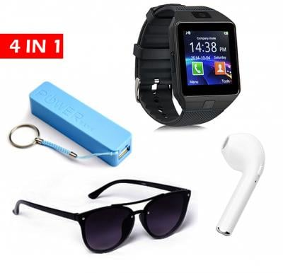 4 in 1 saver pack, smart watch with sim and camera, Bluetooth headset, Powerbank and Sunglass