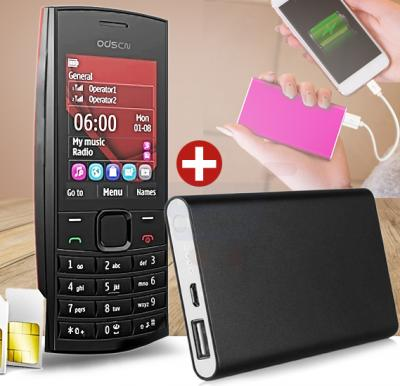 Bundle Offer ODSCN X2-02 Mobile, 1.77 Inch Display, Dual SIM, Camera - Black, And Get Multi color 5000 mAh Ultra Slim Power Bank For Smartphone Free
