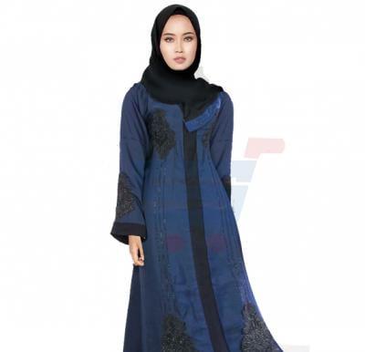 Ayishas Nida Colour Blue Stones Design Handmade Abaya, Nida Colour ABY-1