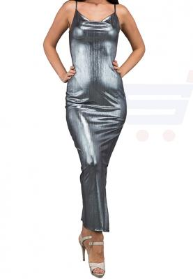 WAL G Italy Metallic Maxi Evening Dress Silver - WG 61127 - L