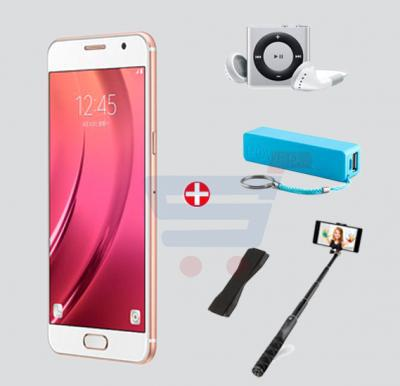 Bundle Offer Enes A12 3G Smartphone,8 GB Storage, 1GB RAM, Dual Camera, Dual Sim, and  MP3 Player, Power Bank, Selfie Stick & Mobile Grip, Gold