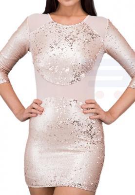 TFNC London Bezzie Sequin   Party Dress Nude - CTT 20970  - L