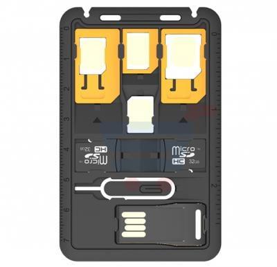 Promate Travel 8 in 1 Micro SIM Nano SIM Card Holder with 4 SIM Adapters for Smartphones, SIMATE-2.BLACK