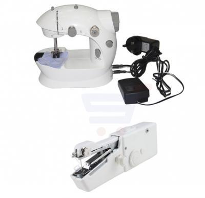 2 in 1 Bundle Portable Mini Sewing Machine, White HHE-7752 & Handy Stitch EA-806