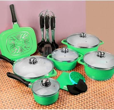 Olympia 23 Pcs Die Cast Nonstick Ceramic Cookware Set Green, OE-2301