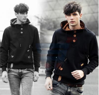 Mens Hoodie Casual Fastener Design Fashion Coat Black (Small) - 0561